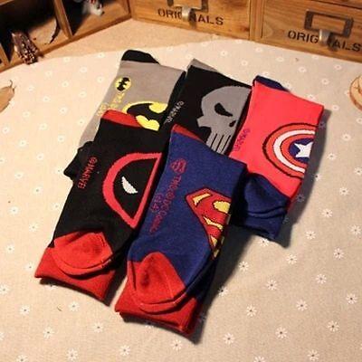1 Pair Mens Socks Bundle Superman Batman Casual Superhero Funky Dress Crew Socks