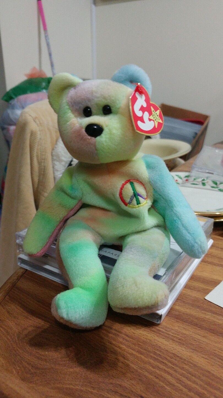 Peace Rainbow color Bear TY TY TY Beanie Baby 1996 PVC