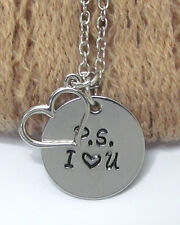 NEW P.S. I LOVE YOU HEART CHARM SILVER STAMPED ENGRAVED NECKLACE