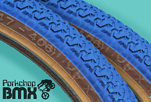 Kenda-K55-freestyle-old-school-BMX-skinwall-gumwall-tires-PAIR-20-034-X-1-75-034-BLUE