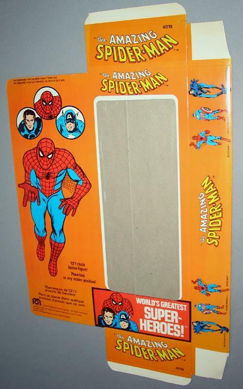 70s NOS Mego 12 Flat Spider-Man Box Doll Marvel Avengers Thor homecoming hulk