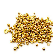 1 Gram 10K Solid Gold Bright Yellow Casting Grain Shot Nugget Round Bullion