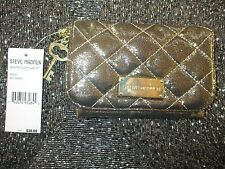 Steve Madden Quilted Coin Pouch Mini Purse ID Wallet $38 Gold