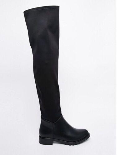Femme Bottes PIECES Roz Plat Bottes Cuissardes Noir Taille Uk6 NEUF