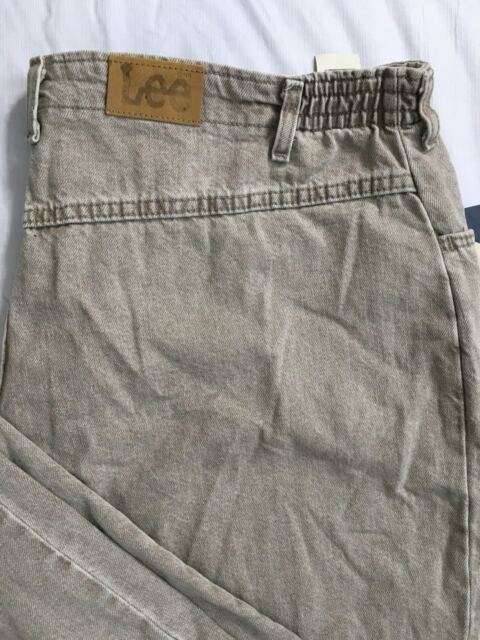 8248ad46 Vtg Lee Jeans Womens 28W Stone Khaki Side Elastic Relaxed Fit Tapered Leg  NWT