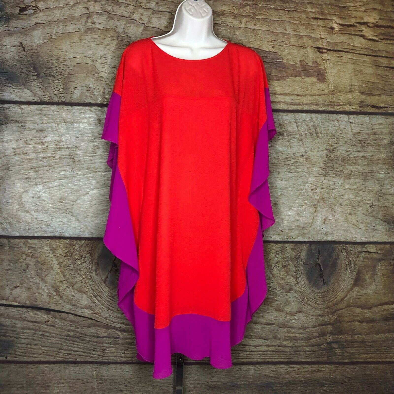 Badgley Mischka damen 4 Dress Kimono Tunic Sleeve Farbe Block NEW rot Light