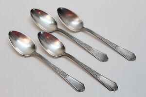 4 Vintage 1847 Rogers Bros Ancestral Silverplate Flatware Teaspoons