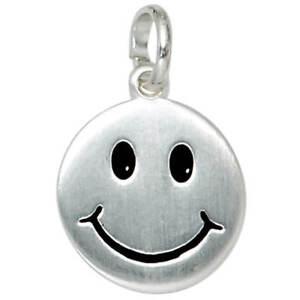 Anhaenger-Gesicht-Smiley-aus-925-Silber-mattiert-schwarz-lackiert-Damen