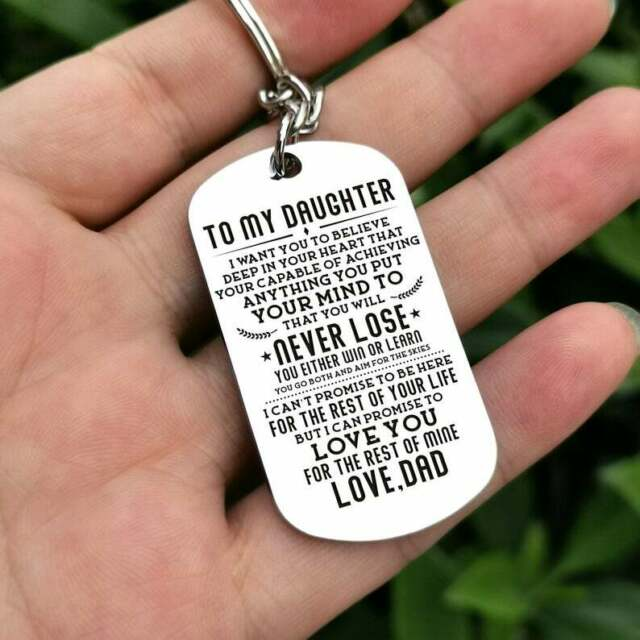 To My Daughter Believe In Your Heart Love Dad Key Chain Military Dog Tag Gift
