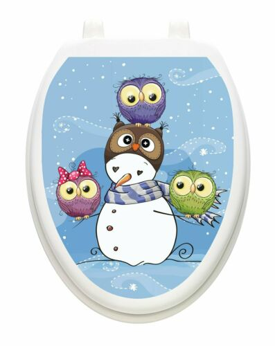Toilet Tattoos Snowman With Owls  Vinyl Removable Christmas  Lid Decor