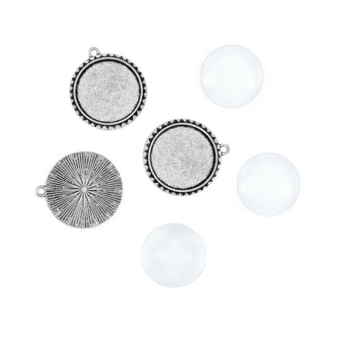 6Sets Pendant Cabochon Settings and Glass Cabochons Antique Silver 40x36mm 05AS