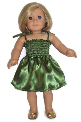 Green Satin Sun Dress made for 18 inch American Girl Doll Clothes