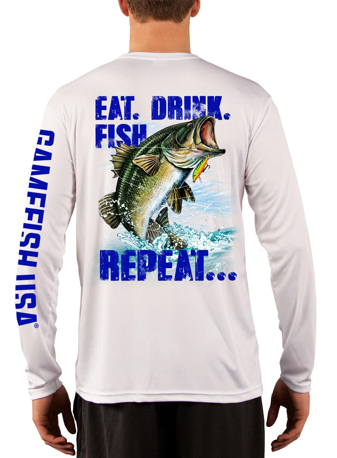 3958abe3 Men's UPF 50 Long Sleeve Microfiber Performance Fishing Shirt Bass Repeat