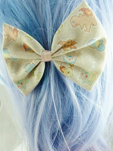 Kawaii Pastel Pokemon Handmade Fabric Hair Bow Geeky Hair Accessory
