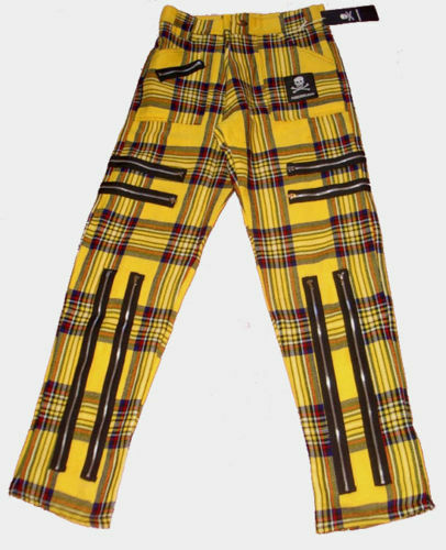 Yellow Tartan ZIP Punk Trousers. Bondage Pants Goth 36 38 40  light plaid