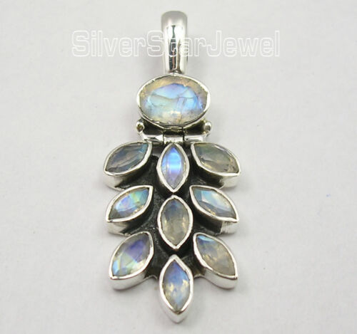 """925 Argent Pur Blue Fire Rainbow Moonstone oxydé raisins Pendentif 1.5/"""""""