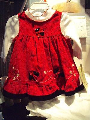 Girls Rare Too Brand Red Corduroy Jumper Black Westie