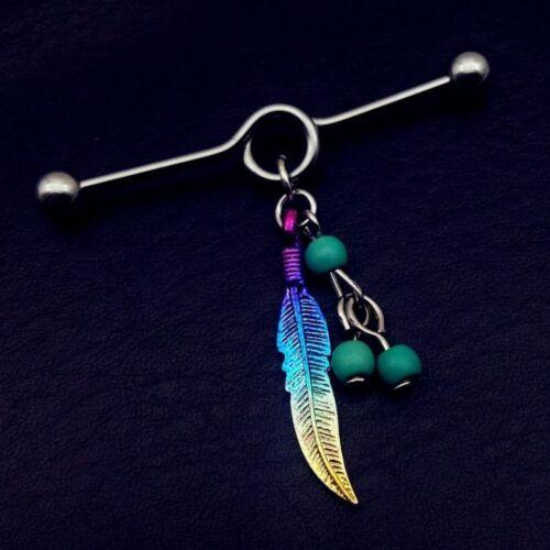 1PCS 14 G Dream Catcher Industriel Piercing Barbell Stud Oreille Anneau Piercing