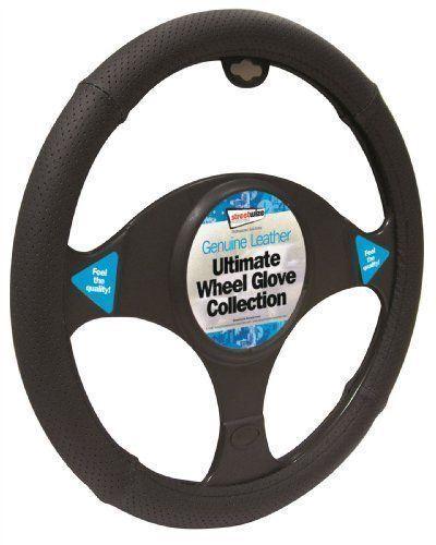 Toyota Auris Black Genuine Leather Steering Wheel Cover Glove 37cm