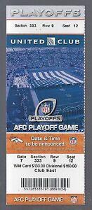 2012-13 NFL AFC RAVENS @ BRONCOS DIVISIONAL PLAYOFFS FULL UNUSED FOOTBALL TICKET