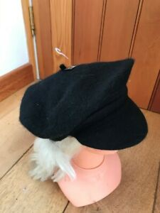monsoon black angora rich peaked beret hat small new unworn