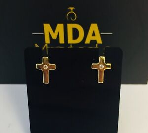fbe652b20df Details about 9CT YELLOW GOLD 'CROSS' STUD EARRINGS