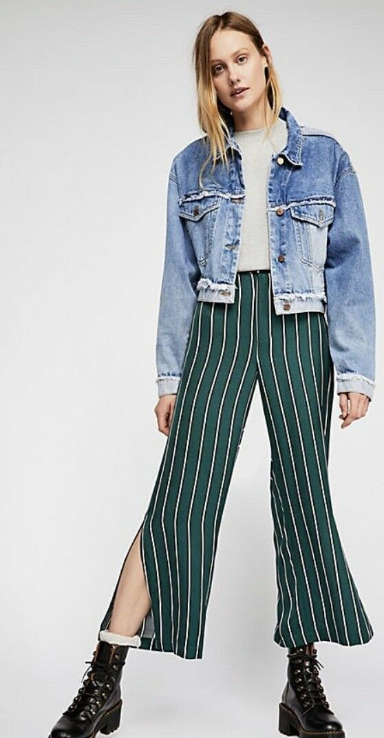Free People Moments Cropped Pant New Green Stripe Large