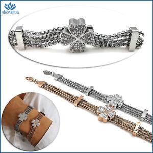 Bracciale da donna multifilo con quadrifoglio portafortuna acciaio braccialetto