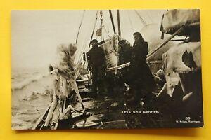 Marine-Foto-AK-Matrosen-Eis-u-Schnee-Schlachtschiff-Rettungsboot-Uniformen-1-WK
