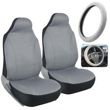 Front Seat Covers for Car Auto - Grey Polyester Cloth w/ Steering Wheel Cover