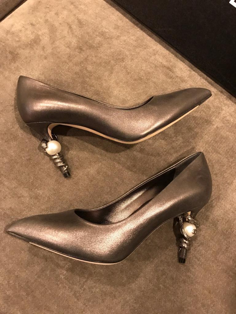 CHAEL 16A Metallic  Goatskin Serpent Snake Pumps Heels scarpe grigio  1150  in vendita