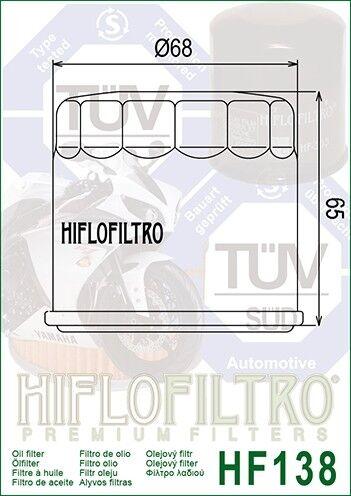 Suzuki GSX-R1100 K-N1989-92 HiFlo HF138C Chrome Oil Filter
