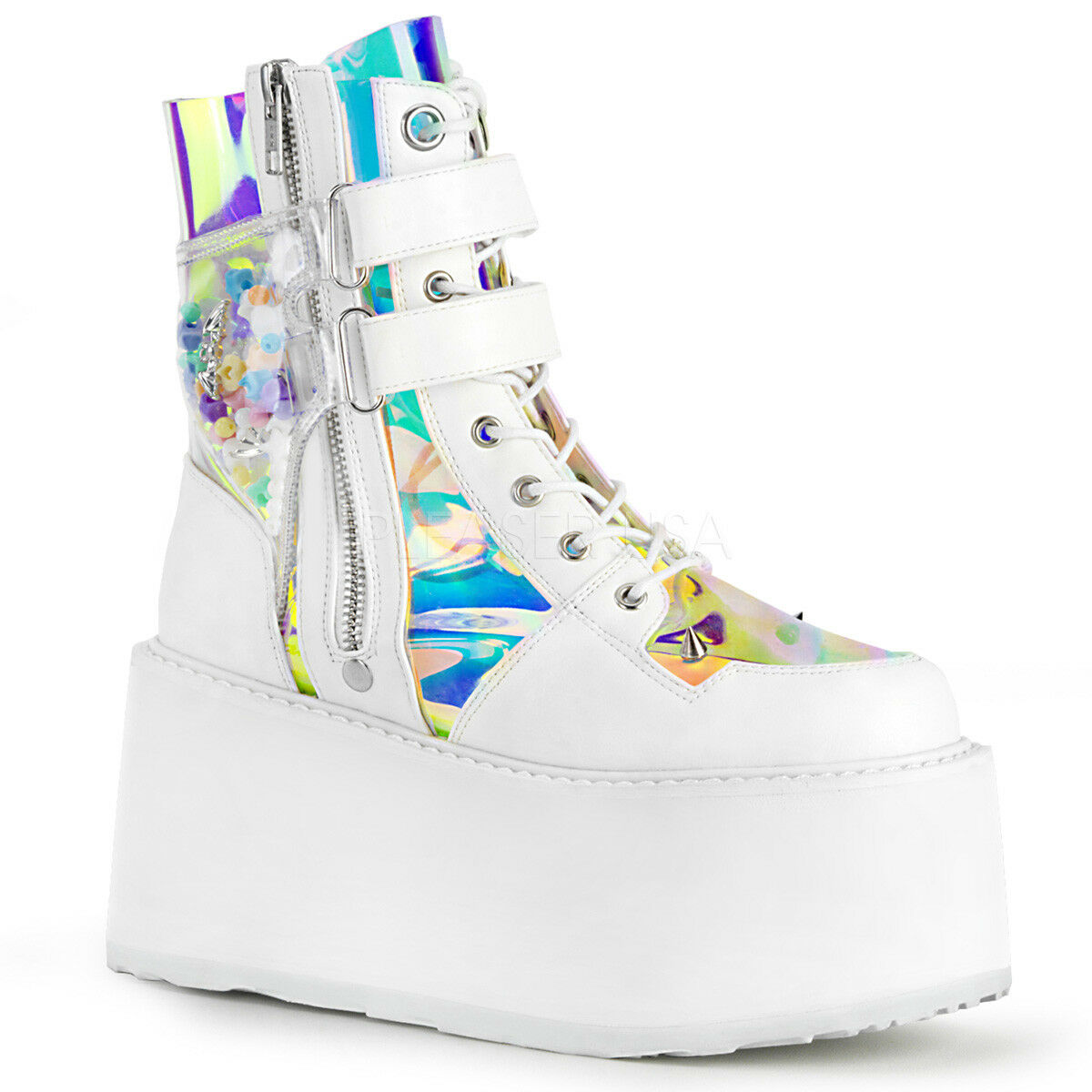 WEISS Womans Clear Platform Demonia Burning Man Raver Goth Punk Womans WEISS Schuhes Stiefel 9 10 f7e5ea