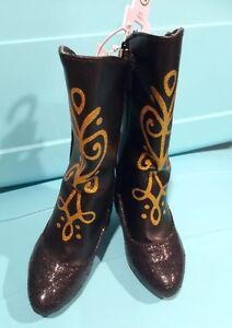 Disney Frozen Girl Toddler Anna Black Costume Boots Size 7