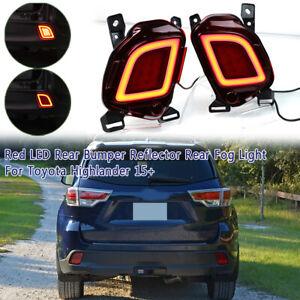 LED-Rear-Brake-Bumper-Reflector-Fog-Light-Lamp-For-Toyota-Highlander-2015-2018