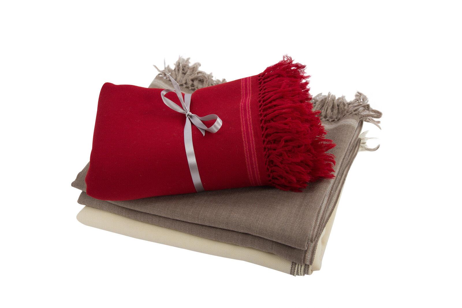 Belle Merino Wool LUSSO GRANDI HANDWOVEN Gettare Coperta Tappeto cucita dettaglio confine