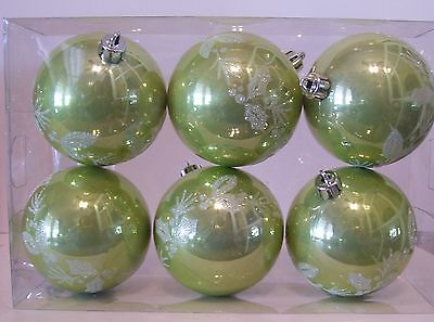 6 GREEN PEARL FINISH SHATTER RESISTANT 3 INCH CHRISTMAS ORNAMENTS DECORATION