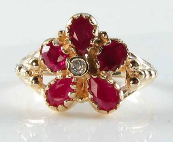 ENGLISH VICTORIAN  9CT gold INDIAN RUBY DIAMOND FLOWER RING