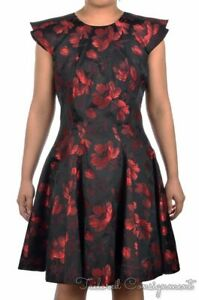 ALEXANDER-MCQUEEN-Black-Red-Silk-Blend-Floral-Womens-Dress-NWT-IT-46-US-12