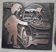 Vintage Letterpress Printing Block Plate 2 Men Talking Outside A Tire Shop Car
