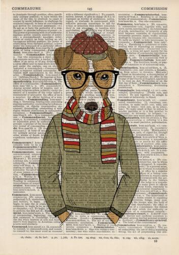 Jack Russel dans un chapeau Dictionnaire Accrochage Art Animal Print Vintage