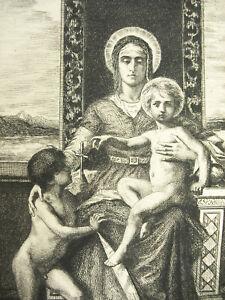 Engraving-c1874-La-Virgin-the-Child-Jesus-and-Saint-Jean-Baptiste-Ap-F-Humbert