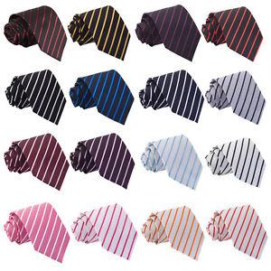 Hommes-Cravate-Large-Classique-Noeuds-Rayures-Obliques-Multicolore-Marque-DQT
