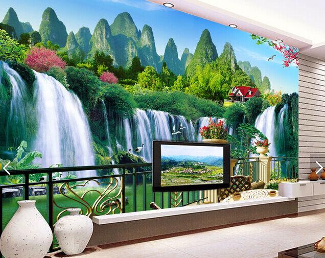 3D Berge, Wasserfälle 65 Fototapeten Wandbild Fototapete BildTapete Familie
