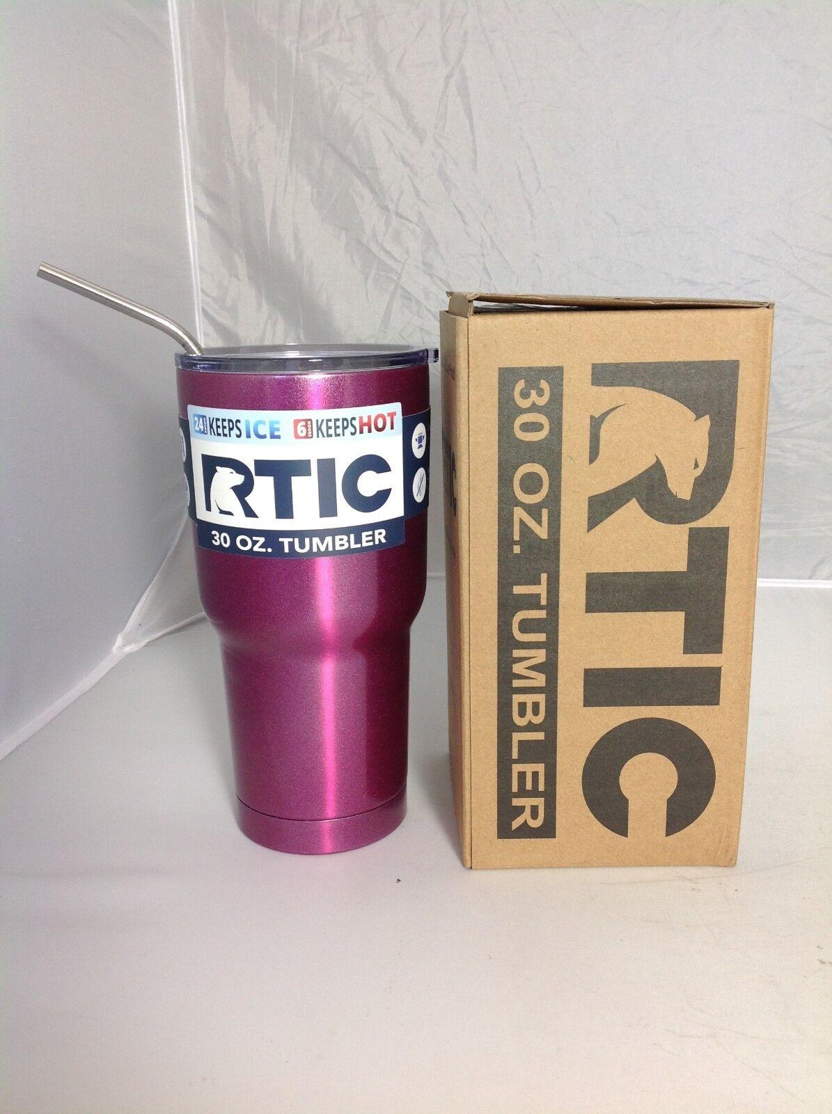 RTIC Tumbler 30oz Rasberita Powder Coated with stainless straw