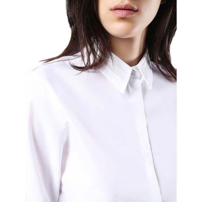 180 authentique rare Diesel Femme Manches Longues Weiß Uni Bouton Chemise