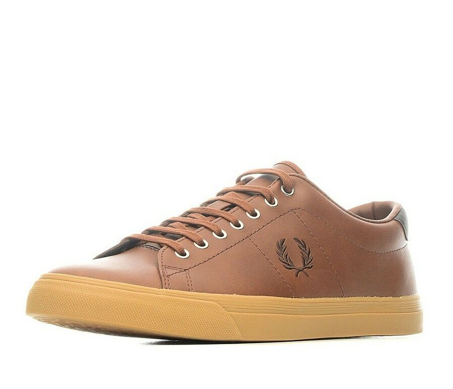Fred Perry Men's Underspin Leather Trainers Shoes - B9092-C55 - Tan
