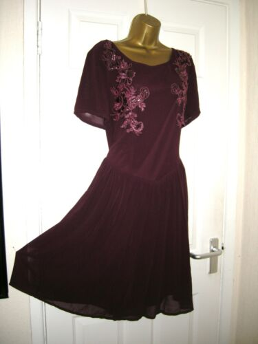 Waist Embellished 80's Dress Drop Koko 70's Party Chiffon Retro Purple Midi 18 vU0qXBx