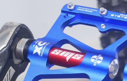 SMS Road BMX MTB Bike Bicycle 3 sealed Bearings Pedals flat Platform Pedal Blue