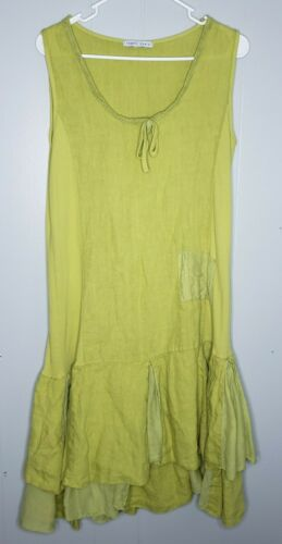Tempo Paris Lagenlook 100% Linen Sleeveless Dress